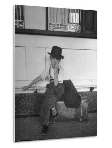 Little Boy Sitting on His Luggage While Waiting For the Train at the Denver Union Station-Sam Shere-Metal Print