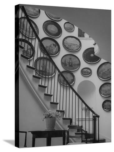 Hard Painted Tray Collection Hanging on the Wall by the Staircase-Nina Leen-Stretched Canvas Print