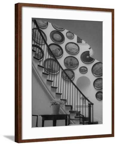 Hard Painted Tray Collection Hanging on the Wall by the Staircase-Nina Leen-Framed Art Print
