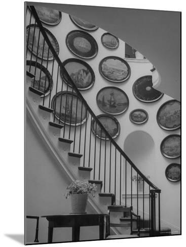 Hard Painted Tray Collection Hanging on the Wall by the Staircase-Nina Leen-Mounted Photographic Print