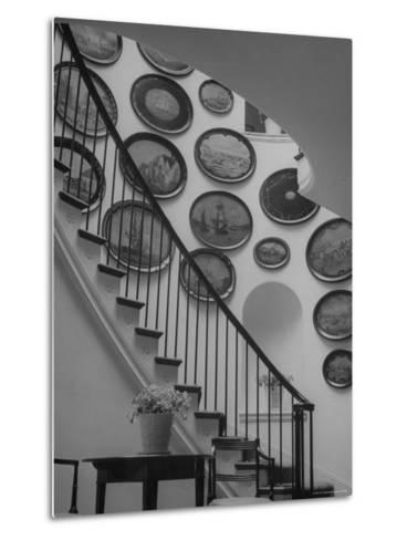 Hard Painted Tray Collection Hanging on the Wall by the Staircase-Nina Leen-Metal Print