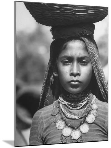 India Native Wearing Traditional Clothing, Carrying Basket on Her Head-Margaret Bourke-White-Mounted Photographic Print