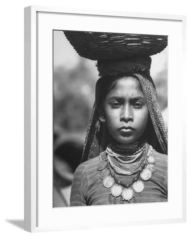 India Native Wearing Traditional Clothing, Carrying Basket on Her Head-Margaret Bourke-White-Framed Art Print