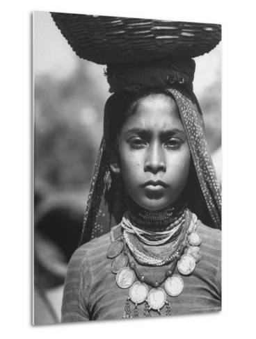 India Native Wearing Traditional Clothing, Carrying Basket on Her Head-Margaret Bourke-White-Metal Print