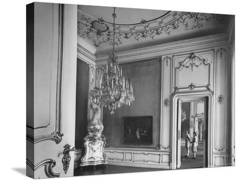 Elaborate Crystal Chandelier Hanging from Ceilings in Kuntshistoriche Museum-Nat Farbman-Stretched Canvas Print