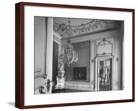 Elaborate Crystal Chandelier Hanging from Ceilings in Kuntshistoriche Museum-Nat Farbman-Framed Art Print