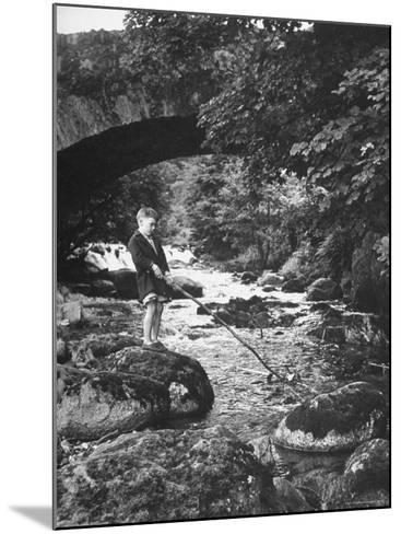 Boy Fishing by the Bridge over the Laroch in Ballachulish-Hans Wild-Mounted Photographic Print