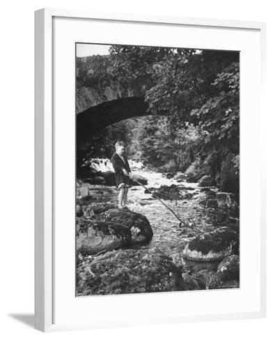 Boy Fishing by the Bridge over the Laroch in Ballachulish-Hans Wild-Framed Art Print