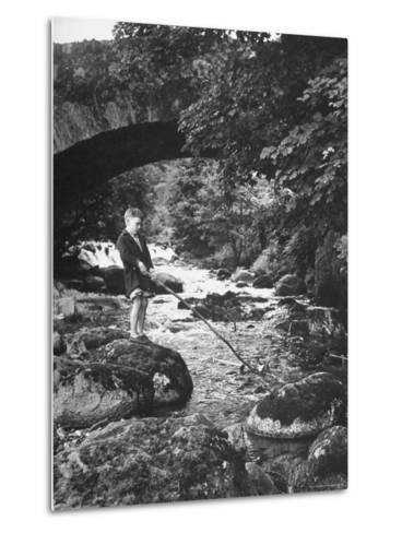Boy Fishing by the Bridge over the Laroch in Ballachulish-Hans Wild-Metal Print