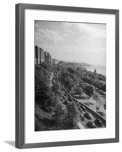Cars Driving Off the George Washington Bridge in the Afternoon During Memorial Day Traffic-Cornell Capa-Framed Art Print