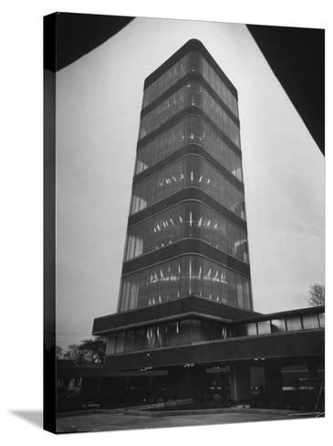 Exterior of Modern Research Tower Built by Frank Lloyd Wright For Johnson Wax Co-Eliot Elisofon-Stretched Canvas Print