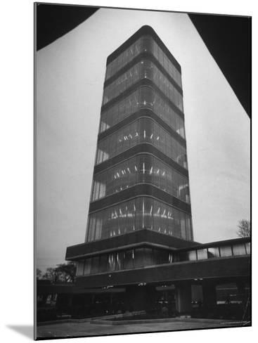 Exterior of Modern Research Tower Built by Frank Lloyd Wright For Johnson Wax Co-Eliot Elisofon-Mounted Photographic Print