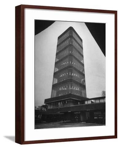 Exterior of Modern Research Tower Built by Frank Lloyd Wright For Johnson Wax Co-Eliot Elisofon-Framed Art Print