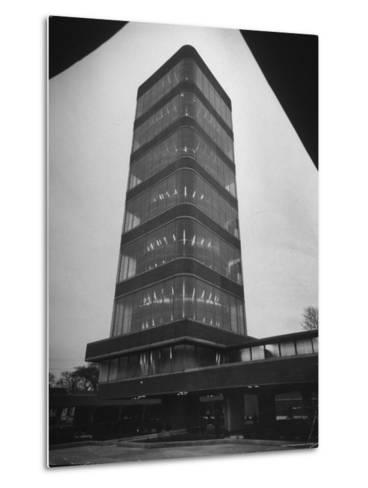 Exterior of Modern Research Tower Built by Frank Lloyd Wright For Johnson Wax Co-Eliot Elisofon-Metal Print