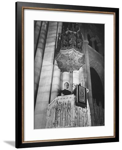 Dr. Harry Emerson Fosdick Delivering Sermon From the Pulpit of Riverside Church-Margaret Bourke-White-Framed Art Print