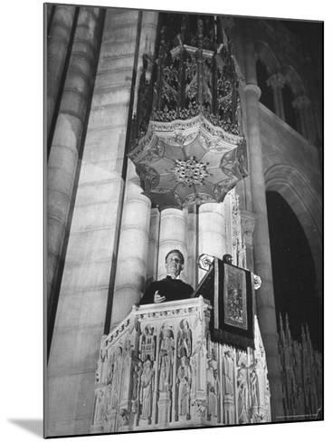 Dr. Harry Emerson Fosdick Delivering Sermon From the Pulpit of Riverside Church-Margaret Bourke-White-Mounted Photographic Print