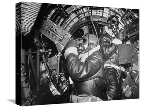 B-17 Flying Fortress Bomber During Bombing Raid Launched by US 8th Bomber Command from England-Margaret Bourke-White-Stretched Canvas Print