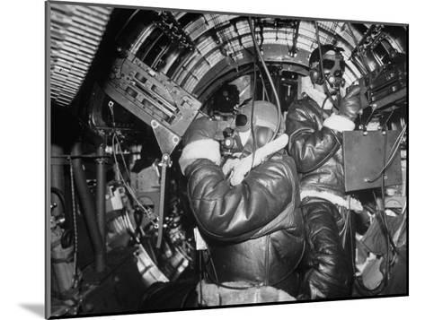 B-17 Flying Fortress Bomber During Bombing Raid Launched by US 8th Bomber Command from England-Margaret Bourke-White-Mounted Photographic Print