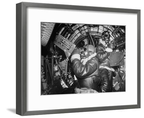 B-17 Flying Fortress Bomber During Bombing Raid Launched by US 8th Bomber Command from England-Margaret Bourke-White-Framed Art Print
