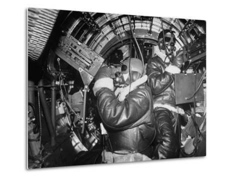 B-17 Flying Fortress Bomber During Bombing Raid Launched by US 8th Bomber Command from England-Margaret Bourke-White-Metal Print