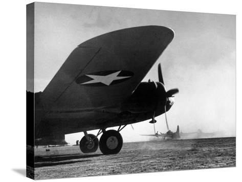 American B-17 Flying Fortresses Get Into Position For Takeoff Headed For Targets in Tunisia-Margaret Bourke-White-Stretched Canvas Print