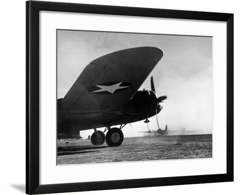 American B-17 Flying Fortresses Get Into Position For Takeoff Headed For Targets in Tunisia-Margaret Bourke-White-Framed Art Print