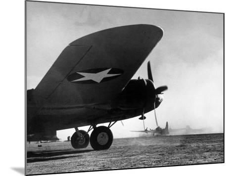 American B-17 Flying Fortresses Get Into Position For Takeoff Headed For Targets in Tunisia-Margaret Bourke-White-Mounted Photographic Print