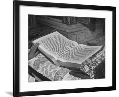 Close Up of the Granath, Compiled in Gurmukhi Script in 1600 by the Fifth Leader of the Sikhs-Margaret Bourke-White-Framed Art Print