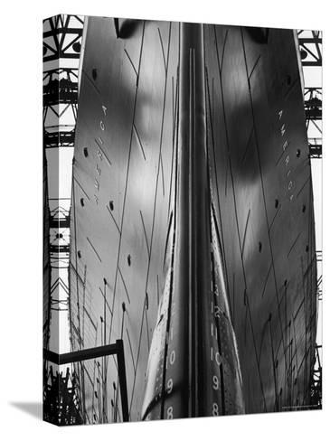 Exact Front View Looking Up at the Hull of Oceanliner, America, Showing Depth Numbers-Alfred Eisenstaedt-Stretched Canvas Print