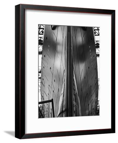 Exact Front View Looking Up at the Hull of Oceanliner, America, Showing Depth Numbers-Alfred Eisenstaedt-Framed Art Print
