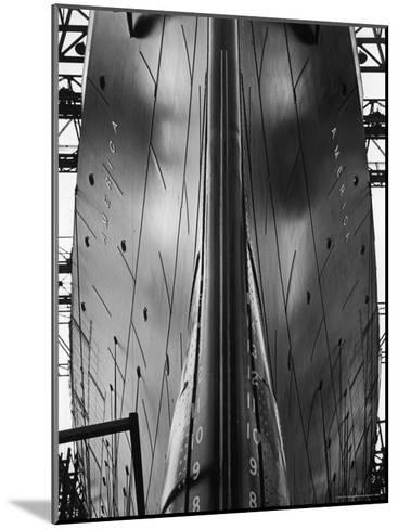 Exact Front View Looking Up at the Hull of Oceanliner, America, Showing Depth Numbers-Alfred Eisenstaedt-Mounted Photographic Print
