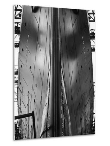 Exact Front View Looking Up at the Hull of Oceanliner, America, Showing Depth Numbers-Alfred Eisenstaedt-Metal Print