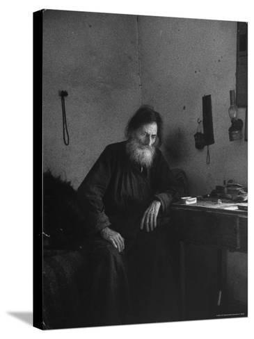 Dying Monk in a Monastery in Thessaly Contemplates His Death-Alfred Eisenstaedt-Stretched Canvas Print