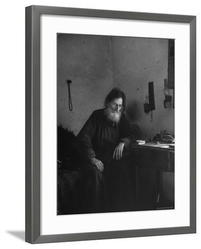 Dying Monk in a Monastery in Thessaly Contemplates His Death-Alfred Eisenstaedt-Framed Art Print