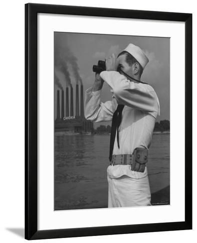 Coast Guard Patrolling Mississippi River Opposite East Saint Louis Power Plant-Alfred Eisenstaedt-Framed Art Print