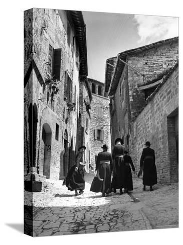Franciscan Monks Walking Up the Via Porta Perlicinin-Alfred Eisenstaedt-Stretched Canvas Print