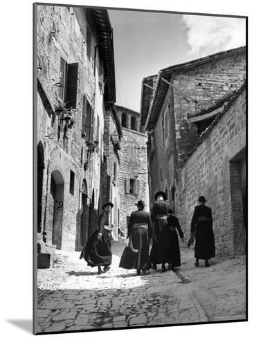 Franciscan Monks Walking Up the Via Porta Perlicinin-Alfred Eisenstaedt-Mounted Photographic Print