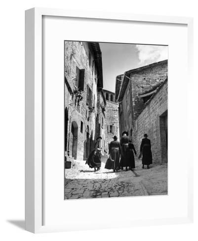 Franciscan Monks Walking Up the Via Porta Perlicinin-Alfred Eisenstaedt-Framed Art Print