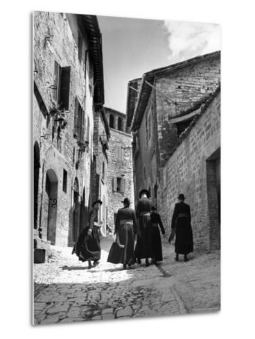 Franciscan Monks Walking Up the Via Porta Perlicinin-Alfred Eisenstaedt-Metal Print