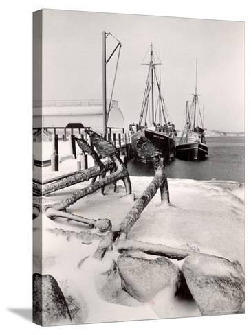 Fishing Ships Anchored at Dock During Winter on Martha's Vineyard-Alfred Eisenstaedt-Stretched Canvas Print