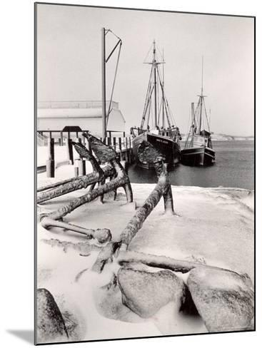 Fishing Ships Anchored at Dock During Winter on Martha's Vineyard-Alfred Eisenstaedt-Mounted Photographic Print