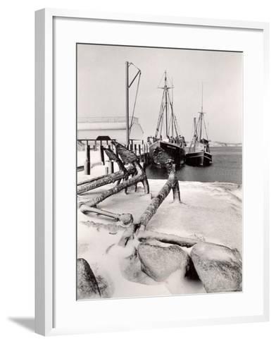 Fishing Ships Anchored at Dock During Winter on Martha's Vineyard-Alfred Eisenstaedt-Framed Art Print