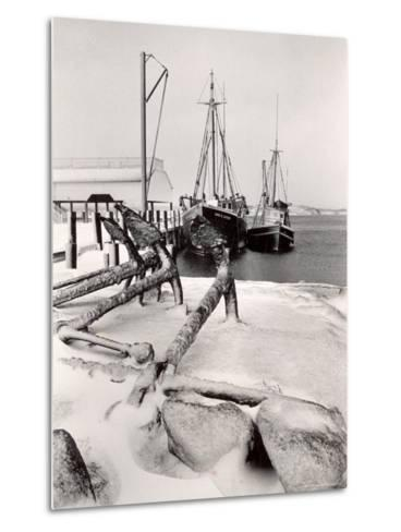 Fishing Ships Anchored at Dock During Winter on Martha's Vineyard-Alfred Eisenstaedt-Metal Print