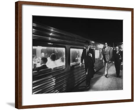 Commuters on the New Haven Line-Alfred Eisenstaedt-Framed Art Print