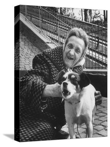 """Elderly Woman with Pet Dog """"Miquette"""" on Steps of Montmartre-Alfred Eisenstaedt-Stretched Canvas Print"""