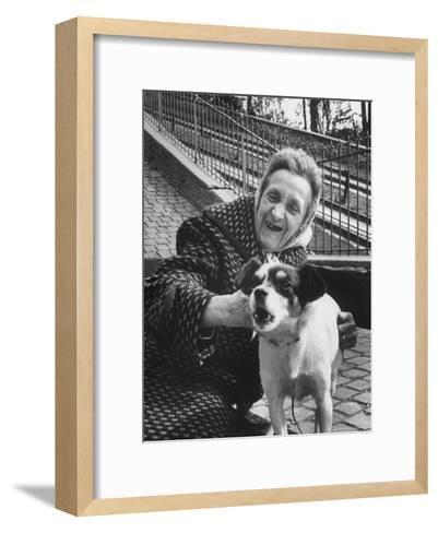 "Elderly Woman with Pet Dog ""Miquette"" on Steps of Montmartre-Alfred Eisenstaedt-Framed Art Print"
