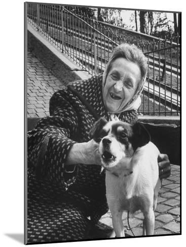"""Elderly Woman with Pet Dog """"Miquette"""" on Steps of Montmartre-Alfred Eisenstaedt-Mounted Photographic Print"""