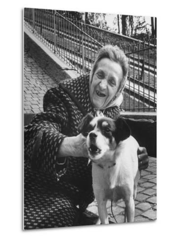 """Elderly Woman with Pet Dog """"Miquette"""" on Steps of Montmartre-Alfred Eisenstaedt-Metal Print"""