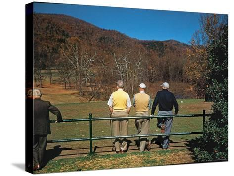 Golfers Waiting at 1st Tee to Play on the No. 1 White Sulfur Golf Course-Walker Evans-Stretched Canvas Print