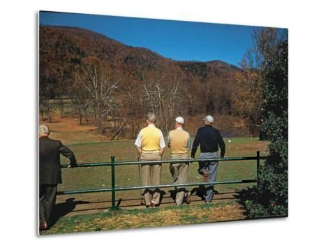 Golfers Waiting at 1st Tee to Play on the No. 1 White Sulfur Golf Course-Walker Evans-Metal Print